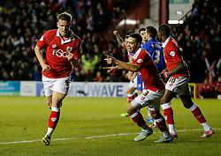Matt Smith of Bristol City celebrates scoring a goal to make it 1-0 (5-2 on aggregate) - Photo mandatory by-line: Rogan Thomson/JMP - 07966 386802 - 29/01/2015 - SPORT - FOOTBALL - Bristol, England - Ashton Gate Stadium - Bristol City v Gillingham - Johnstone's Paint Trophy Southern Area Final Second Leg.