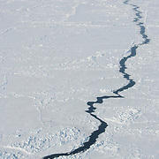 A lead in the winter ice of the Beaufort Sea Ice pack. Kaktovik, Alaska