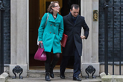Downing Street, London, January 10th 2017. Lord Privy Seal and Leader of the House of Lords Baroness Natalie Evans and Welsh Secretary Alun Cairns leave the weekly UK cabinet meeting at 10 Downing Street as the new Parliamentary term begins.