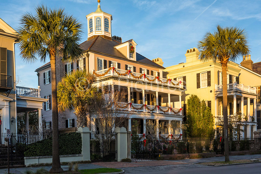 Historic downtown Charleston housing  and architecture during the Christmas festivities opposite Battery park,  South Carolina, USA.