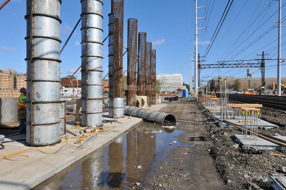 Bridge Pier Forms on North Side of Tracks. Construction Progress Railroad Station Fairfield Metro Center. Site visit 4.