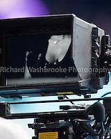 Barclays ATP World Tour Finals 2012 ..Cameraman zooms on a pair of breasts during the match between Roger Federer (SUI)  loses to Novak Djokovic (SRB)  7:6  7:5 in the Final..Images taken by Richard Washbrooke