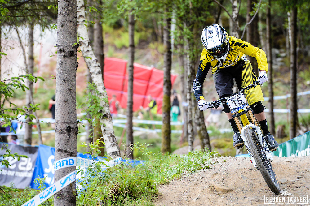 09.06.2013 Fort William, Scotland. Marc Beaumont of GT Factory Racing during the Men's Elite Downhill  Final for the UCI Mountain Bike World Cup in Fort William.