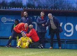 Falkirk's Deimantas Petravicius of injured. Stenhousemuir 4 v 2 Falkirk, 3rd Round of the William Hill Scottish Cup played 24/11/2018 at Ochilview Park, Larbert.