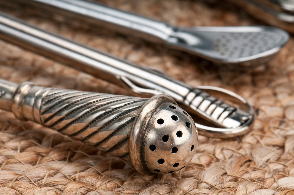 Close up of metal straws  used to drink yerba mate. Mate is a traditional drink very similar to tea in Argentina, Uruguay, Paraguay and some parts of Brazil. Use of selective focus.