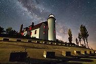 The galactic core of the Milky Way rises over Point Betsie Lighthouse