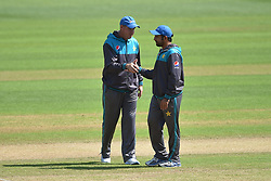 Pakistan coach Mickey Arthur (left) and captain Sarfraz Ahmed during the nets session at Cardiff Wales Stadium.