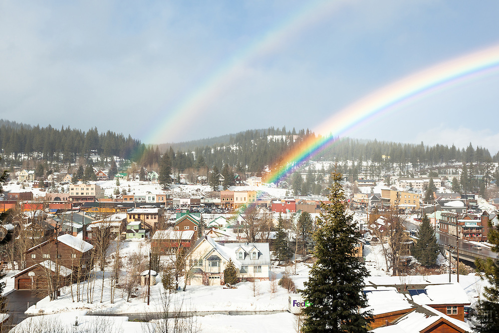 """""""Double Rainbow Above Downtown Truckee"""" - Photograph of an intense double rainbow above a snowy historic Downtown Truckee, California."""