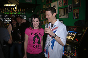 Sioban Fahey and Mark Moore, Future Punk Launch party at Selfridges, Oxford St. : 9th March. ONE TIME USE ONLY - DO NOT ARCHIVE  © Copyright Photograph by Dafydd Jones 66 Stockwell Park Rd. London SW9 0DA Tel 020 7733 0108 www.dafjones.com