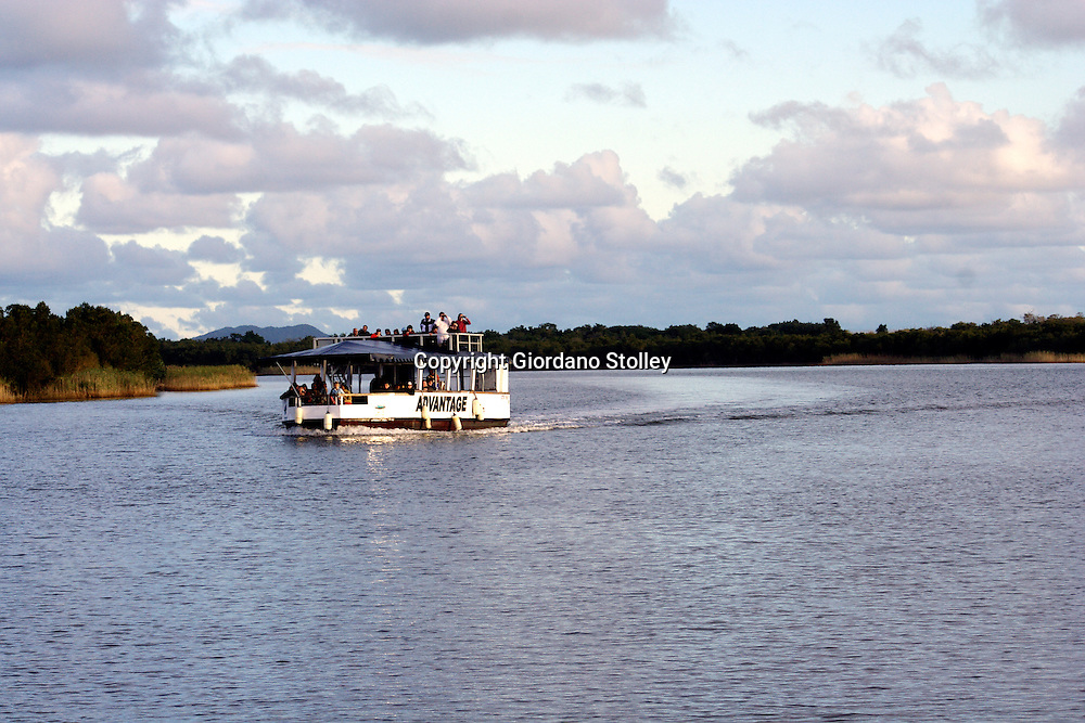 ST LUCIA - 3 July 2007 - Several boats like this one ply the St Lucia Estuary in the northern part of South Africa's KwaZulu-Natal province in a bid to find hippos and crocodiles for tourists to see..Picture: Giordano Stolley/Allied Picture Press