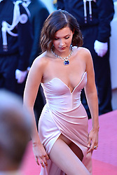 Bella Hadid shows off her panty as arriving at Les Fantomes d'Ismael screening and opening ceremony held at the Palais Des Festivals in Cannes, France on May 17, 2017, as part of the 70th Cannes Film Festival. Photo by Aurore Marechal/ABACAPRESS.COM