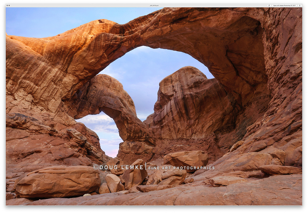 Double Arch in early morning at Arches National Park, Utah, USA