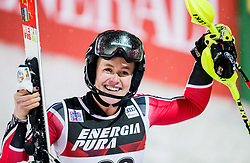 """Erin Mielzynski (CAN) reacts in finish area during 2nd Run of FIS Alpine Ski World Cup 2017/18 Ladies' Slalom race named """"Snow Queen Trophy 2018"""", on January 3, 2018 in Course Crveni Spust at Sljeme hill, Zagreb, Croatia. Photo by Vid Ponikvar / Sportida"""