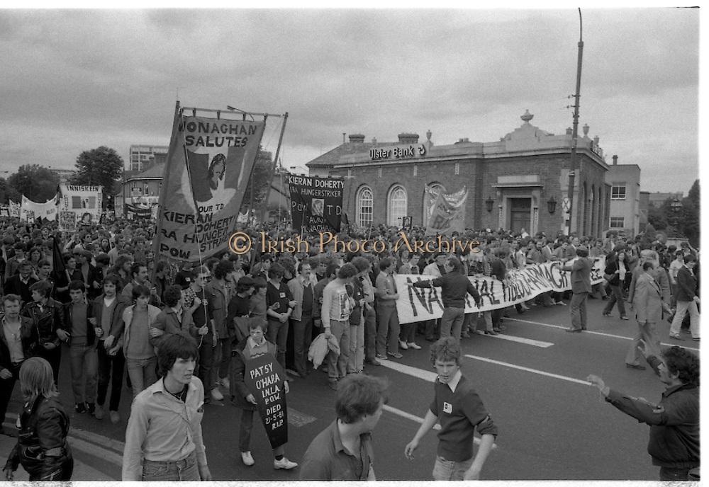 H-Block Protest To British Embassy.  (N86)..1981..18.07.1981..07.18.1981..18th July 1981..A protest march to demonstrate against the H-Blocks in Northern Ireland was held today in Dublin. After the death of several hunger strikers in the H-Blocks feelings were running very high. The protest march was to proceed to the British Embassy in Ballsbridge...Patsy O'Hara is remembered by this young protestor as the march halts outside the RDS in Dublin.