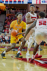 NORMAL, IL - February 05: Javon Freeman runs into the double team of Rey Idowu and Malik Yarbrough during a college basketball game between the ISU Redbirds and the Valparaiso Crusaders on February 05 2019 at Redbird Arena in Normal, IL. (Photo by Alan Look)