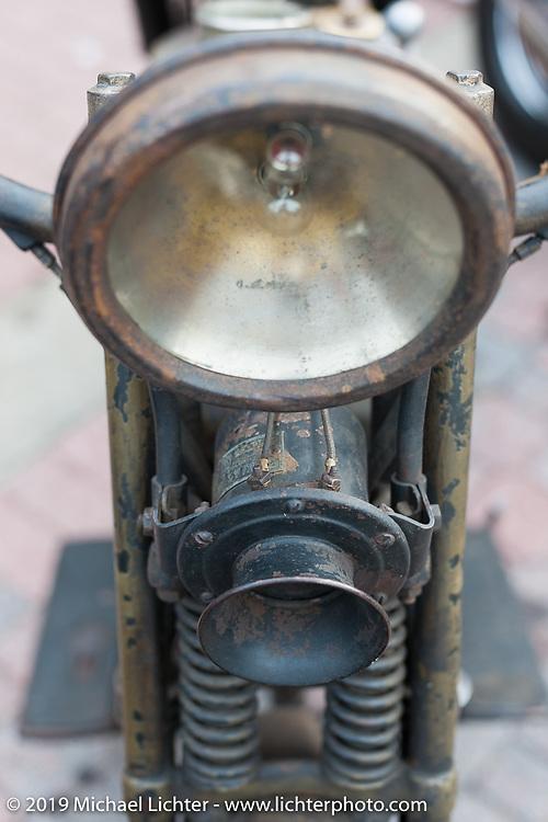 1922 Harley-Davidson Model JD parked on Main street during Daytona Bike Week. FL, USA. March 11, 2014.  Photography ©2014 Michael Lichter.