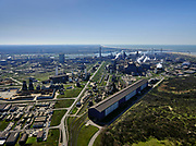Nederland, Noord-Holland, IJmuiden, 23-03-2020; Velsen-Noord, Tata Steel. Oxystaalfabriek. Magazijn (blokken magzijn). Tata Steel industrial site, steel works.<br /> luchtfoto (toeslag op standaard tarieven);<br /> aerial photo (additional fee required)<br /> copyright © 2020 foto/photo Siebe Swart