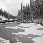 Frozen Pond - Continental Divide Summit - Yellowstone National Park - High Grain Black & White