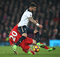 Adam Lallana of Liverpool (L) tackles Kyle Walker of Tottenham Hotspur - Mandatory by-line: Jack Phillips/JMP - 11/02/2017 - FOOTBALL - Anfield - Liverpool, England - Liverpool v Tottenham Hotspur - Premier League