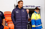 Wimbledon Manager Neal Ardley  during the EFL Sky Bet League 1 match between Blackpool and AFC Wimbledon at Bloomfield Road, Blackpool, England on 20 October 2018.