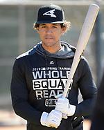 GLENDALE, ARIZONA - FEBRUARY 19: Jon Jay #45 of the Chicago White Sox looks on during spring training workouts on February 19, 2019 at Camelback Ranch in Glendale Arizona.  (Photo by Ron Vesely). Subject:   Jon Jay