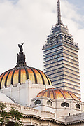 Palacio de Bellas Artes with the Torre Latinoamericana skyscraper behind on Alameda Central in Mexico City, Mexico.