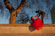 A young couple recover themselves after posing for wedding photos on the Southbank, on 29th November 2016, in London England.