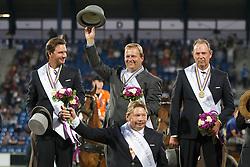 Gold Medal, Team Netherlands, Timmerman Theo, De Ronde Koos, Chardon IJsbrand, De Ruyter Harrie <br /> Marathon Driving Competition<br /> FEI European Championships - Aachen 2015<br /> © Hippo Foto - Dirk Caremans<br /> 22/08/15