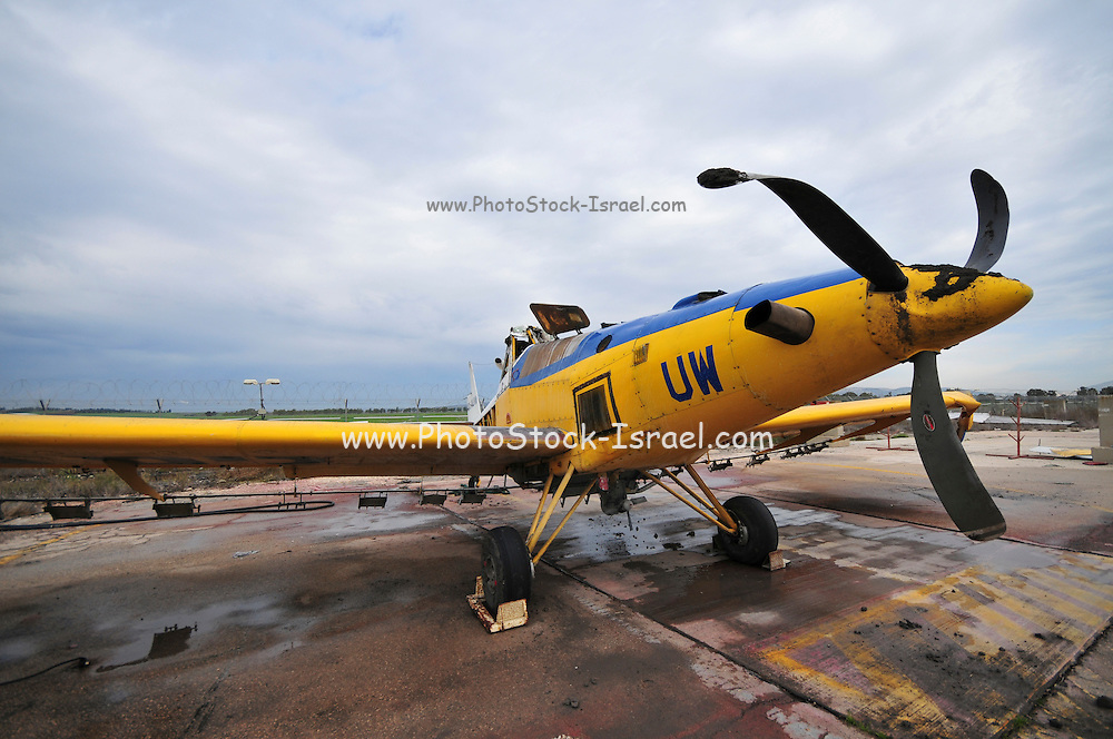 Israel, Haifa, Airfield, a crashed disused cropdusting plane