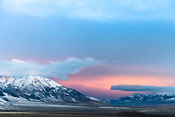 Stormy sunset at The Lost River Range in Central Idaho west of Mackey.