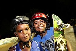 Girls and boys have fun at a skateboarding session in the local park in Kununurra.  The activity is part of our wider program to keep children and young people engaged in fun activities and keep them away from antisocial and risky behaviours.<br />Wa. Australia