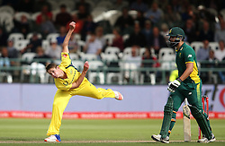 Joe Mennie of Austrailia sends down a delivery during the 5th ODI match between South Africa and Australia held at Newlands Stadium in Cape Town, South Africa on the 12th October  2016<br /> <br /> Photo by: Shaun Roy/ RealTime Images