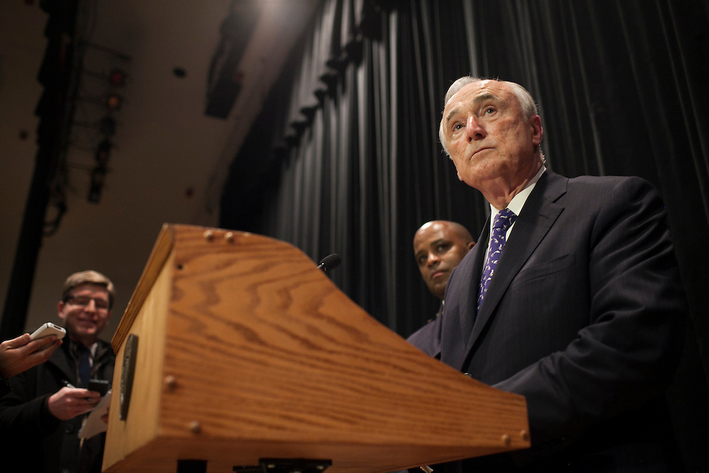 NYPD Commissioner William Bratton speaks to the press, after Mayor Bill de Blasio administered the Oath of Office to NYPD Recruits at Queens College, 65-30 Kissena Blvd, Flushing, NY on Thursday, Jan. 9, 2014.<br /> <br /> CREDIT: Andrew Hinderaker for The Wall Street Journal<br /> SLUG: NYSTANDALONE