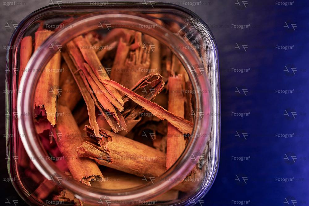 Cinnamon from Ceylon in a glass jar