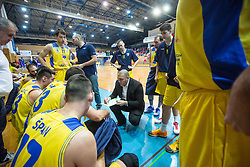 Keselj Igor head coach of K Sencur GGD wth players of KK Sencur GGD during basketball match between KK Sencur  GGD and KK Tajfun Sentjur for Spar cup 2016, on 16th of February , 2016 in Sencur, Sencur Sports hall, Slovenia. Photo by Grega Valancic / Sportida.com