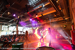 A British dance group named the Valkyries performed their version of fire show and burlesque at the Swiss-Moto Customizing and Tuning Show. Zurich, Switzerland. Sunday, February 24, 2019. Photography ©2019 Michael Lichter.