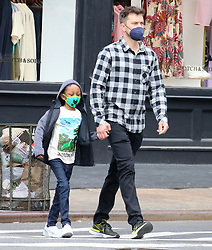 Actor Joshua Jackson is walking with a child in Soho, New York, NY on May 11, 2021.<br /> Photo by Dylan Travis/ABACAPRESS.COM