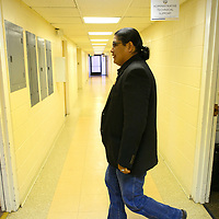 101314  Adron Gardner/Independent<br /> <br /> Navajo Nation presidential candidate Chris Deschene arrives for a special meeting of the Navajo Nation Board of Election Supervisors in Window Rock Monday.