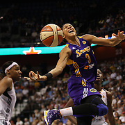 Candace Parker, Los Angeles Sparks, is fouled as she drives to the basket during the Connecticut Sun Vs Los Angeles Sparks WNBA regular season game at Mohegan Sun Arena, Uncasville, Connecticut, USA. 3rd July 2014. Photo Tim Clayton