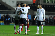 England's Nathan Redmond (c) celebrates after he scores his 3rd goal for his hat trick. UEFA 2015 European U21 championship, group one qualifier , Wales u21 v England u21 at the Liberty Stadium in Swansea, South Wales on Monday 19th May 2014. <br /> pic by Andrew Orchard, Andrew Orchard sports photography.