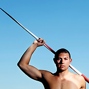 Junior Espitia, state champion in the javelin, poses on the South Salem High School track in Salem, Ore., on Thursday, June 9, 2011.
