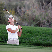 Lorena Ochoa reacts after nearly holing a shot from a fairway bunker at the Safeway International near Phoenix, Arizona. Ochoa went on to beat Suzann Petersen by one stroke for her first victory of 2007...