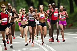NYRR Mini 10K road race (40th year); pack of leading elite runners