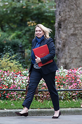 © Licensed to London News Pictures. 25/10/2016. London, UK. Secretary of State for Culture, Media and Sport Karen Bradley arrives at Downing Street to attend the government sub-committee on airports, which is expected to rule today on the expansion of either Gatwick of Heathrow airport. Photo credit: Rob Pinney/LNP