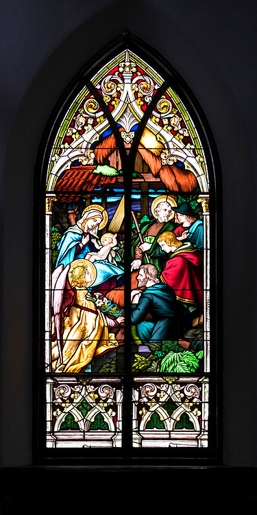 """Window 5 on plan. 55""""w x approx. 120""""h.<br /> <br /> Also known as the 'Adoration of the Shepherds.'<br /> <br /> Holy Redeemer Catholic Church, Bar Harbor, Maine."""