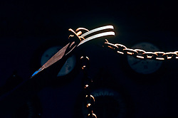 Stock photo of a metal chain and fork