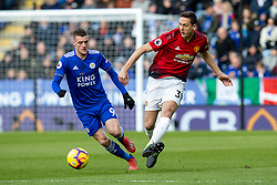February 3, 2019 - Leicester, England, United Kingdom - Nemanja Matic of Manchester United clears the ball under pressure from Jamie Vardy of Leicester City during the Premier League match between Leicester City and Manchester United at the King Power Stadium, Leicester on Sunday 3rd February 2019. (Credit Image: © Mi News/NurPhoto via ZUMA Press)
