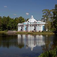 Europe, Russia, Pushkin. Catherine Park Great Pond at Catherine Palace.