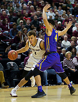 Texas A&M forward DJ Hogg (1) drives around LSU guard Skylar Mays (4) during the first half of an NCAA college basketball game Saturday, Jan. 6, 2018, in College Station, Texas. (AP Photo/Sam Craft)