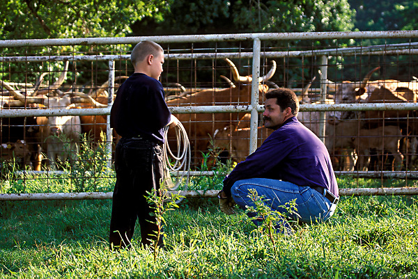 Father teaching son how to use rope around longhorn cattle in Texas